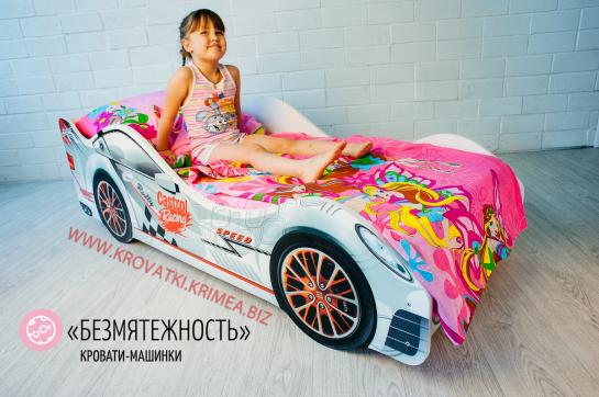 """Детская кроватка машинка Белая """"Безмятежность"""""""