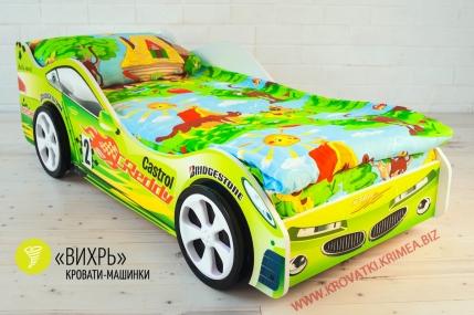 """Детская кроватка машинка """"ВИХРЬ"""" зелёная"""