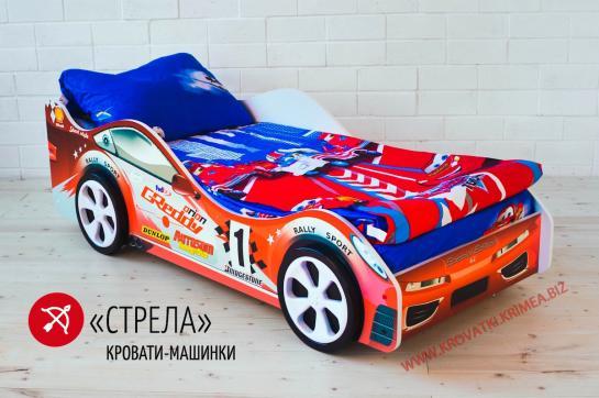 """Детская кроватка машинка """"СТРЕЛА"""" красная"""